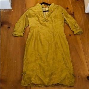 Vintage dress yellow silk